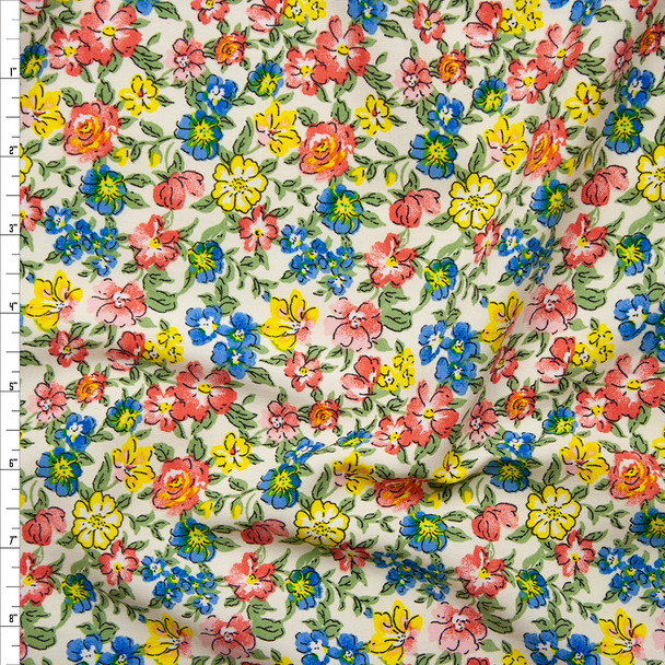 Pink, Yellow, Blue, and Green Garden Floral Polyester Challis Fabric By The Yard