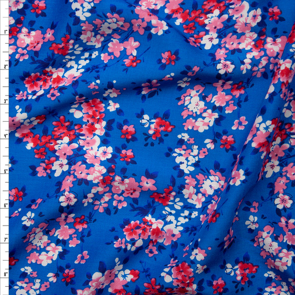 Pink and White Flowers on Blue Rayon Challis Fabric By The Yard