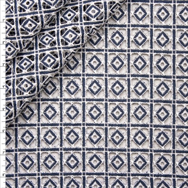 Offwhite and Navy Diamonds and Squares Cotton Eyelet Fabric By The Yard