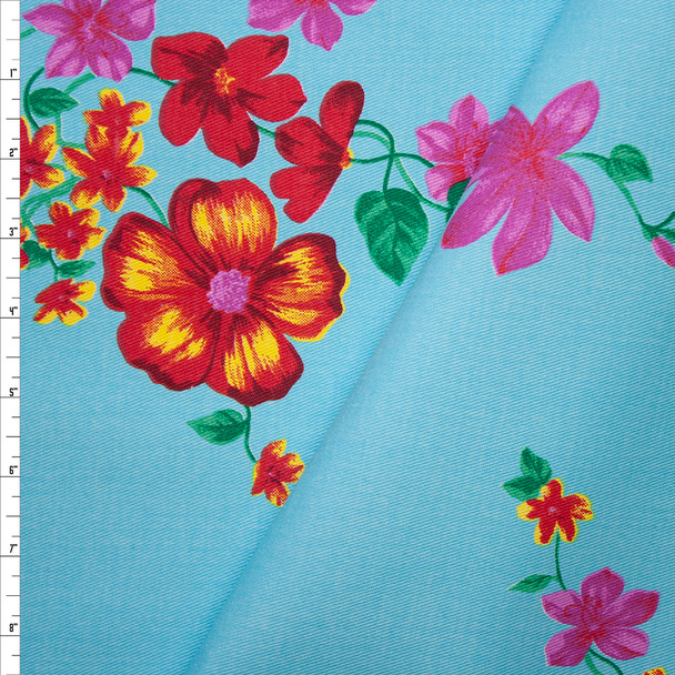 Pink, Red, and Yellow Floral on Bright Aqua Stretch Twill Fabric By The Yard