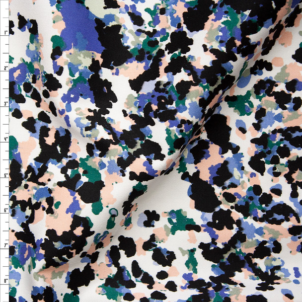 Black, White, Pink, Blue, and Green Mottled Print Stretch Twill Fabric By The Yard