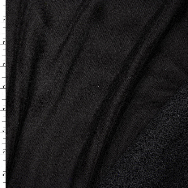 Black Midweight Rayon French Terry Fabric By The Yard