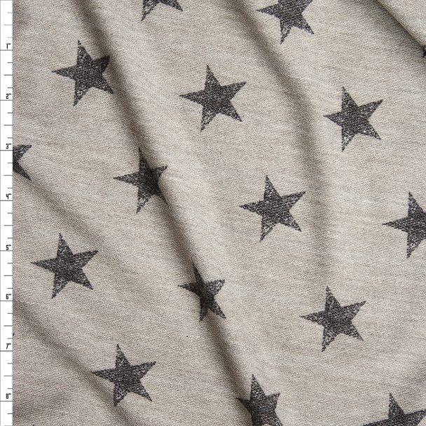 Warm Grey with Black Stars Loop Printed French Terry Fabric By The Yard