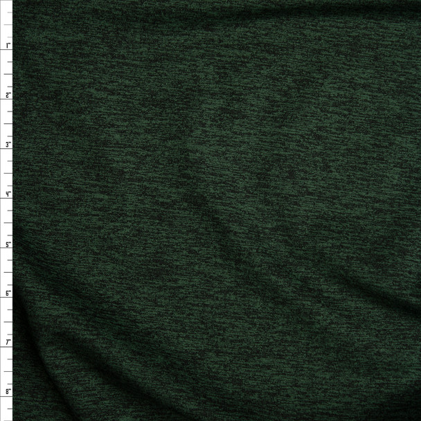 Dark Emerald Heather Brushed Poly Athletic Knit Fabric By The Yard