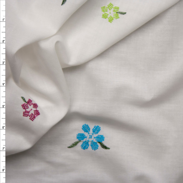 Pink, Lime, and Turquoise Embroidered Flowers on White Cotton Lawn Fabric By The Yard