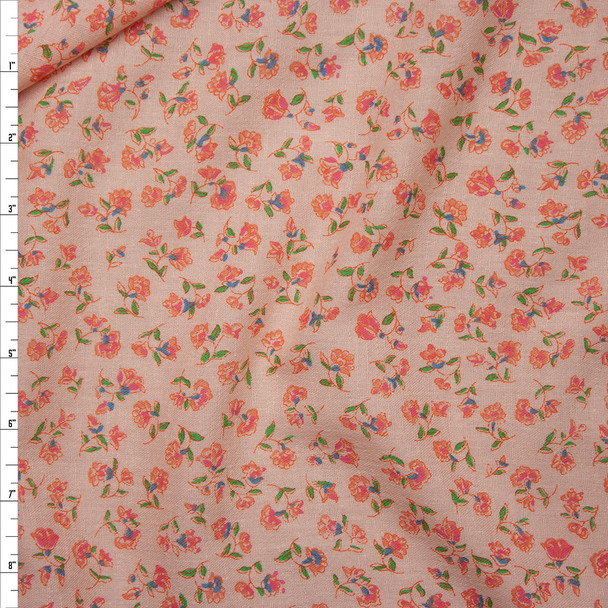 Pink, Blue, Green, and Orange Floral on Pink Cotton Gauze Fabric By The Yard