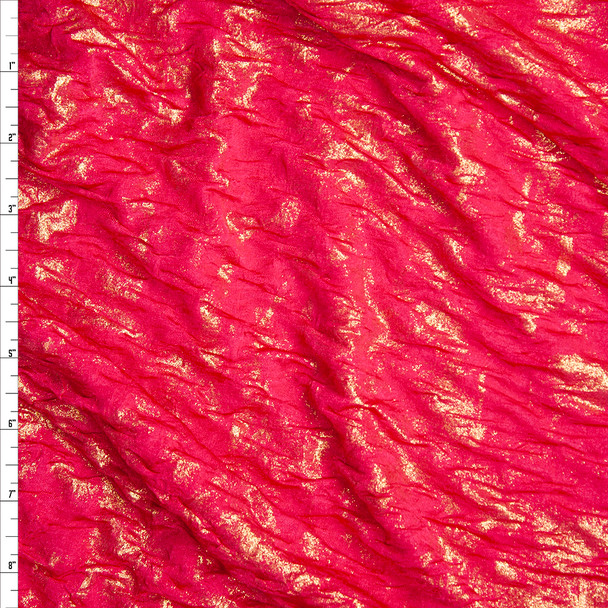 Metallic Gold on Hot Pink Double Layered Stretch Crinkle Knit Fabric By The Yard