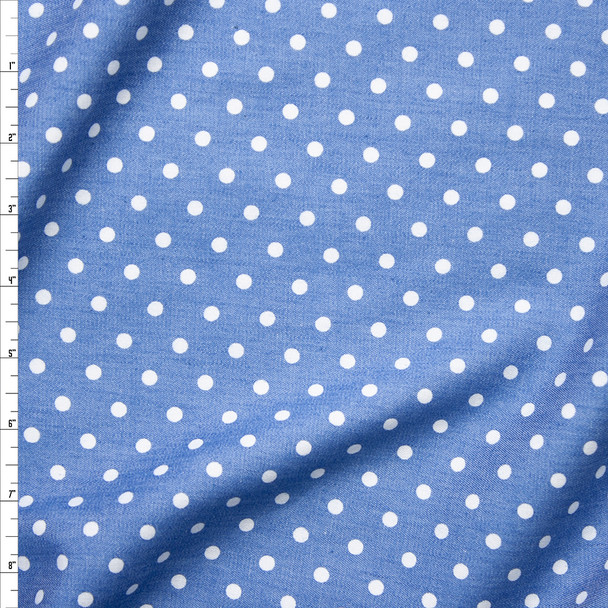 White Polka Dots on Light Blue Tencel Chambray Fabric By The Yard