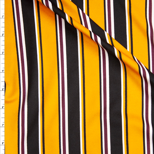 Yellow, Black, Burgundy, and White Stripe Stretch Poly Knit Fabric By The Yard