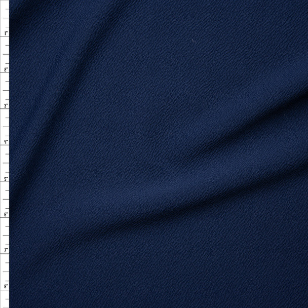 Solid Navy Blue Crepe Textured Liverpool Knit Fabric By The Yard