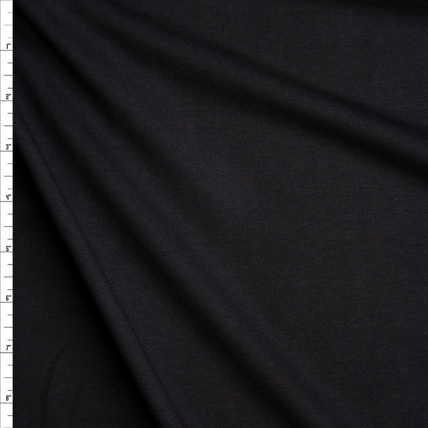 Black Stretch Midweight Cotton Jersey Knit Fabric By The Yard
