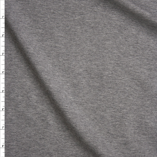 Heather Grey Stretch Midweight Cotton Jersey Knit Fabric By The Yard