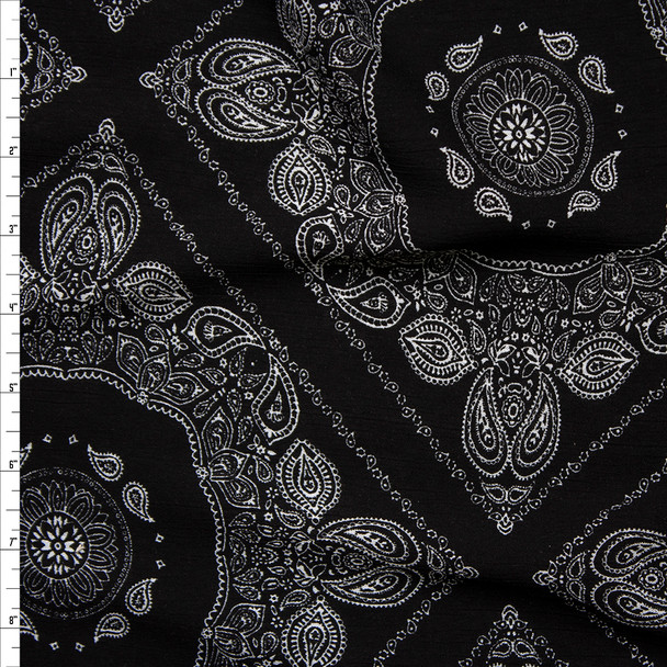 White Paisley Diamonds on Black Rayon Gauze Print Fabric By The Yard