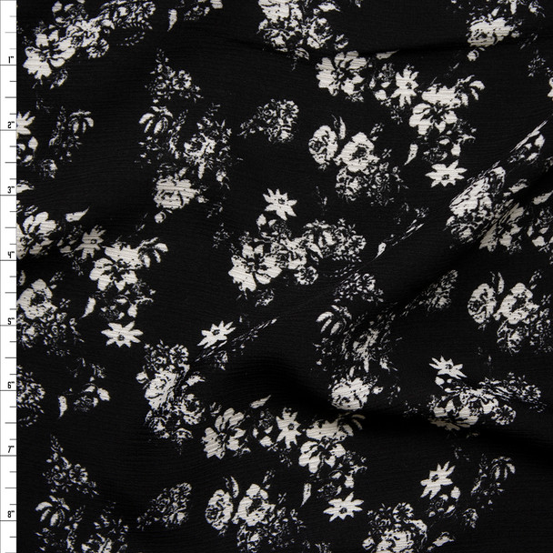 Greyscale Roses on Black Rayon Gauze Print Fabric By The Yard