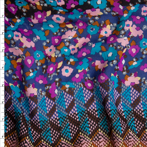 Purple, Teal, and Brown Horizontal Floral and Geometric Stripe Rayon Lawn Print Fabric By The Yard