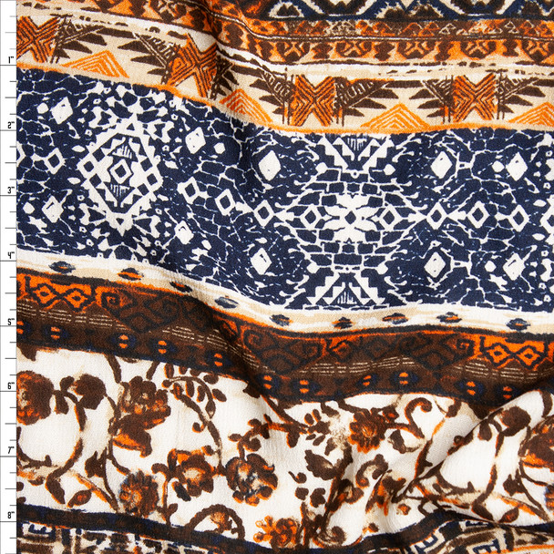 Brown, Black, and Offwhite Horizontal Bohemian Stripe Rayon Gauze Print Fabric By The Yard