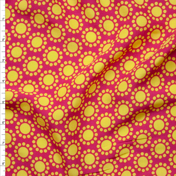Retro Yellow Dot Flowers on Hot Pink Rayon Challis Print Fabric By The Yard