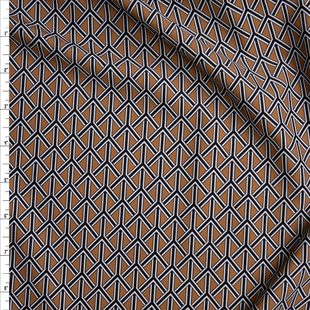 Black, White, and Brown Braided Geometric Nylon/Spandex Fabric By The Yard