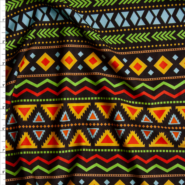 Yellow, Red, Lime, and Blue Geometric Fiesta on Black Nylon/Spandex Fabric By The Yard