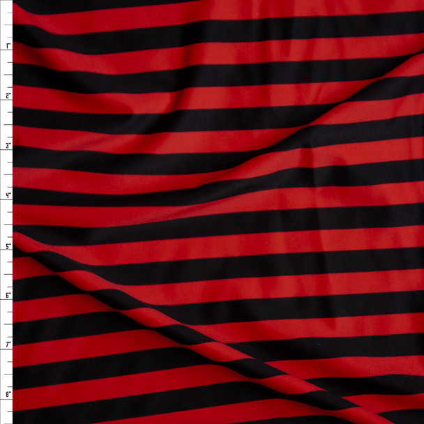 Red and Black Horizontal Stripe Nylon/Spandex Fabric By The Yard