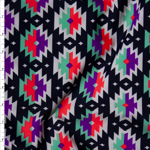 Pink, Purple, Mint, and White Southwestern Medallions on Dark Navy Nylon/Spandex Fabric By The Yard
