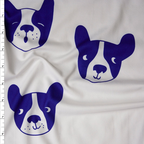 Blue Boston Terrier Dog Faces on White Double Brushed Poly/Spandex Fabric By The Yard