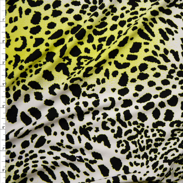 Neon Yellow, Black, and White Gradient Cheetah Print Double Brushed Poly Spandex Fabric By The Yard