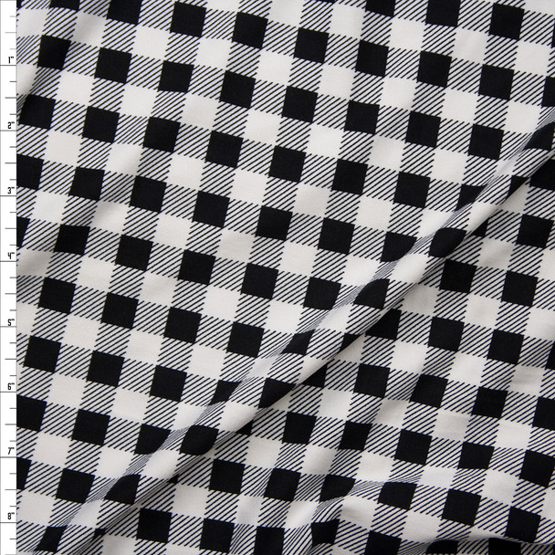 "Black and White 1/2"" Gingham Double Brushed Poly Spandex Fabric By The Yard"