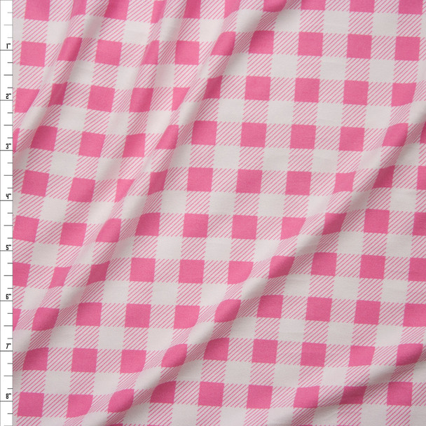 "Pink and White 1/2"" Gingham Double Brushed Poly Spandex Fabric By The Yard"