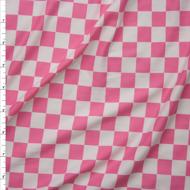 Pink and White Checks Double Brushed Poly Spandex Fabric By The Yard