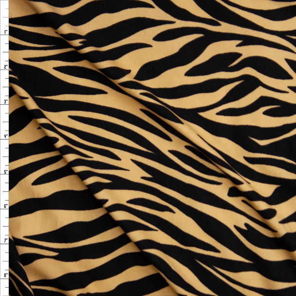 Tan and Black Tiger Print Double Brushed Poly Spandex Fabric By The Yard