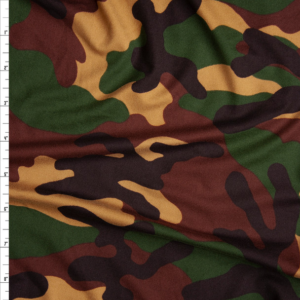 Rich Hunter, Brown, Tan, and Black Camouflage Double Brushed Poly Spandex Fabric By The Yard