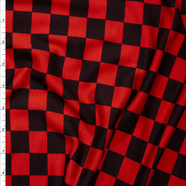 Black and Red Check Lightweight Stretch French Terry Fabric By The Yard