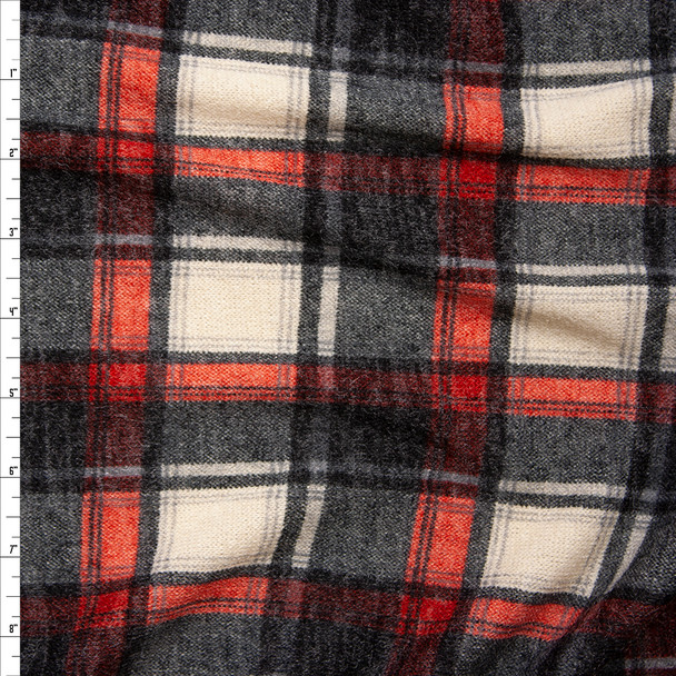 Black, Red, and Ivory Plaid Soft Stretch Sweater Knit Fabric By The Yard