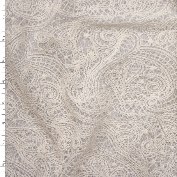Ivory Embroidered Paisley on Ivory Soft Mesh Fabric By The Yard