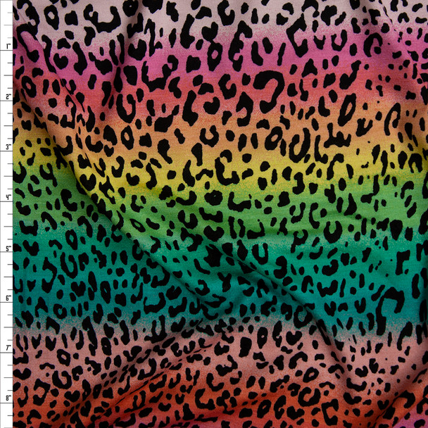 Cheetah Print on Bright Pink, Yellow, and Green Ombre Rainbow Stretch Rayon Jersey Knit Fabric By The Yard