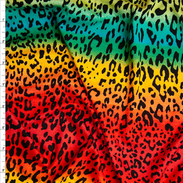 Cheetah Print on Red, Yellow, and Teal Ombre Rainbow Stretch Rayon Jersey Knit Fabric By The Yard