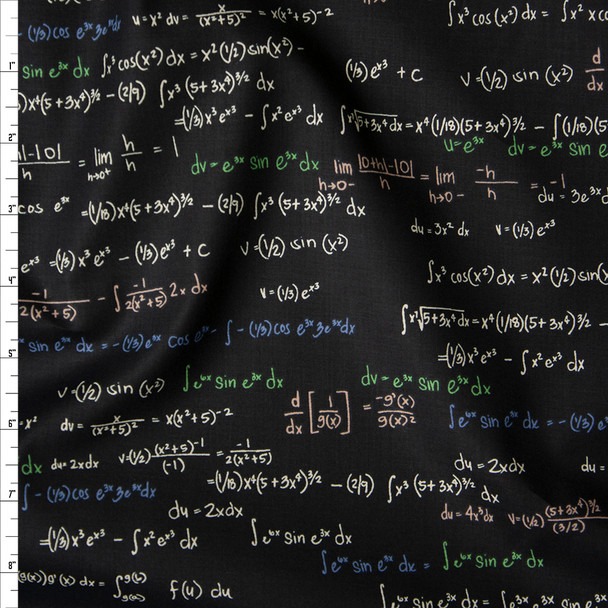 Ivory, Green, Blue, and Peach Equations on Black Fine Cotton Shirting from 'Tori Richards' Fabric By The Yard