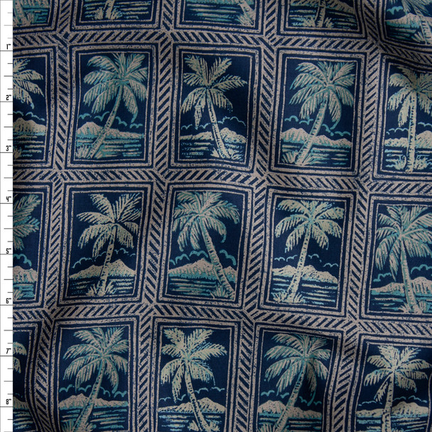 Navy, Tan, and Aqua Tiled Island Palms Fine Cotton Shirting from 'Tori Richards' Fabric By The Yard
