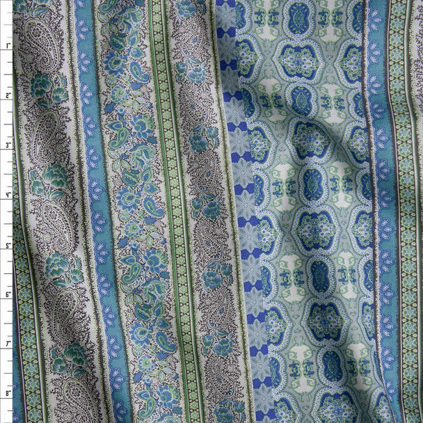Blue, Aqua, and Green Paisley Bohemian Stripe Fine Cotton Shirting from 'Tori Richards' Fabric By The Yard