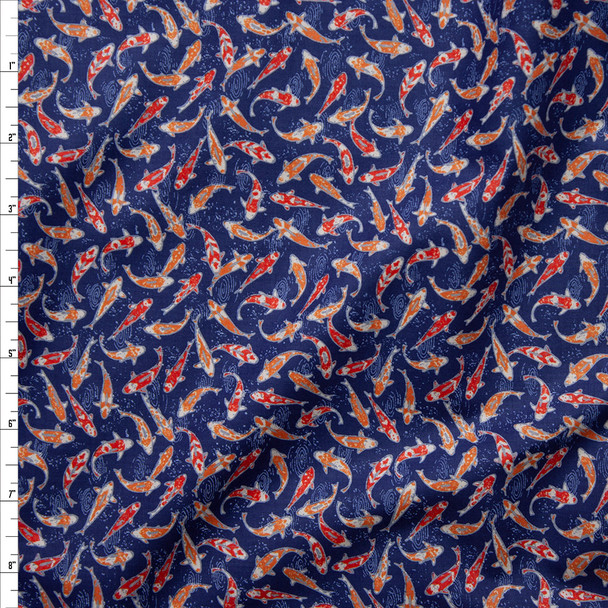 Swimming Koi on Navy Blue Fine Cotton Shirting from 'Tori Richards' Fabric By The Yard