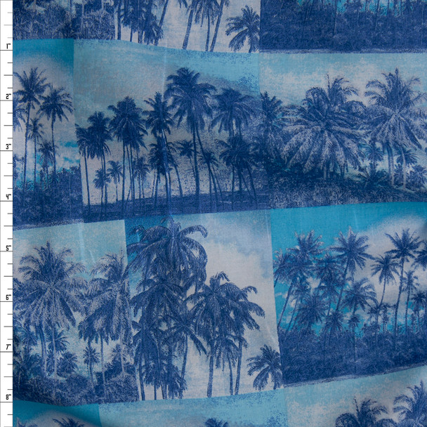 Blue, Aqua, and Offwhite Palm Tree Photos Fine Cotton Shirting from 'Tori Richards' Fabric By The Yard