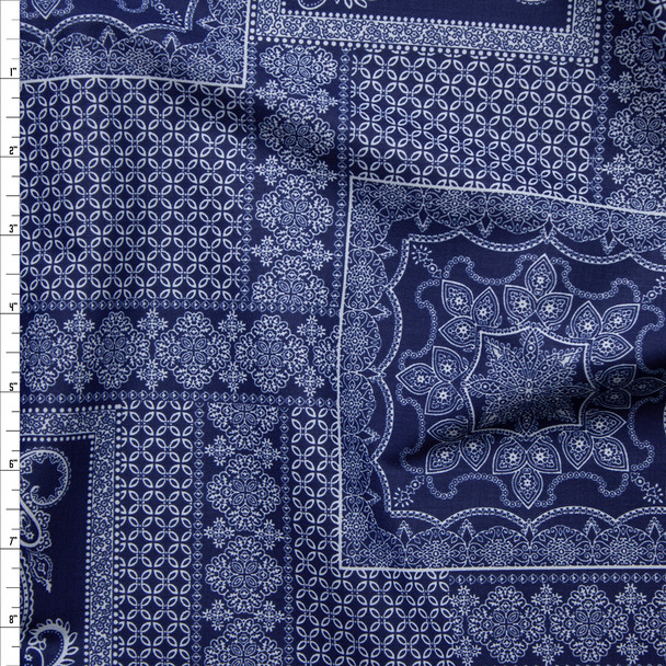 Navy and White Layered Paisley Tiles Fine Cotton Shirting from 'Tori Richards' Fabric By The Yard