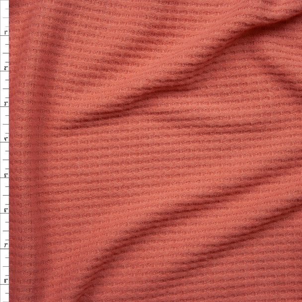 Dusty Coral Brushed Soft Waffle Knit Fabric By The Yard