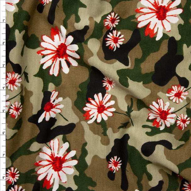 Red and White Daisies on Classic Olive Camouflage Poly/Rayon French Terry Fabric By The Yard