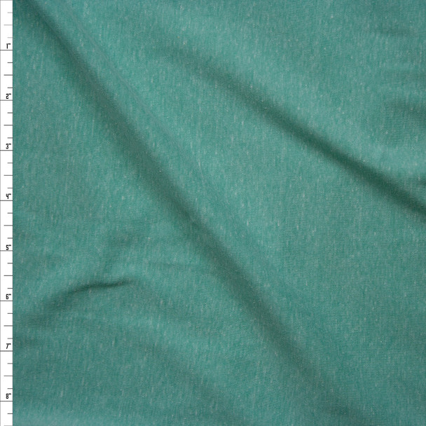 Soft Mint Green Heather Micro Rib Jersey Knit Fabric By The Yard