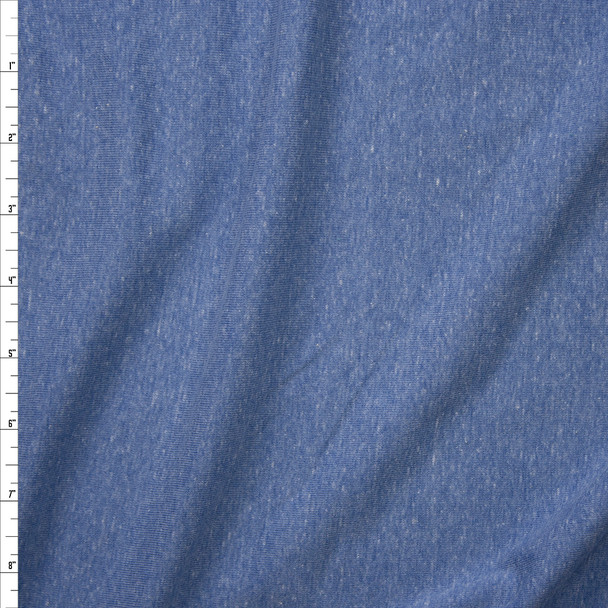 Soft Blue Heather Micro Rib Jersey Knit Fabric By The Yard