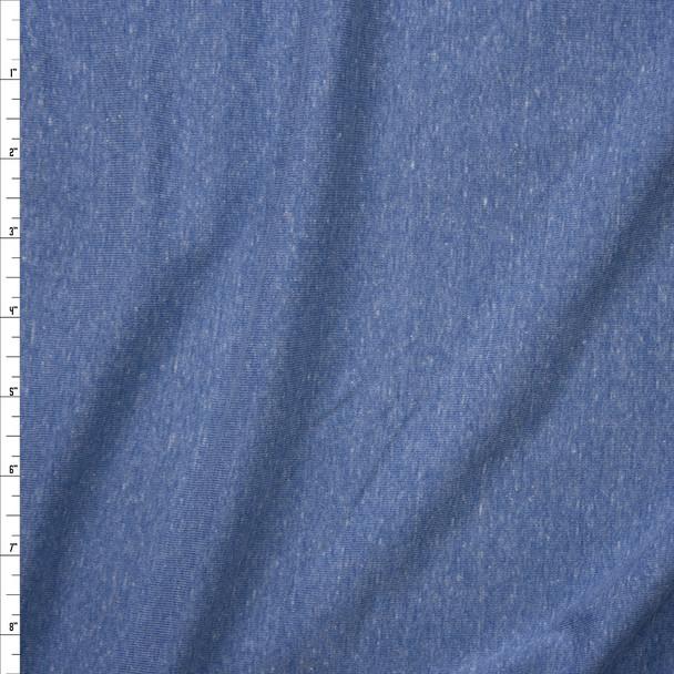 Soft Blue Heather Micro Rib Jersey Knit Fabric By The Yard