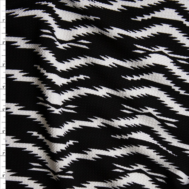 White on Black Electric Tiger Print Bullet Liverpool Knit Fabric By The Yard