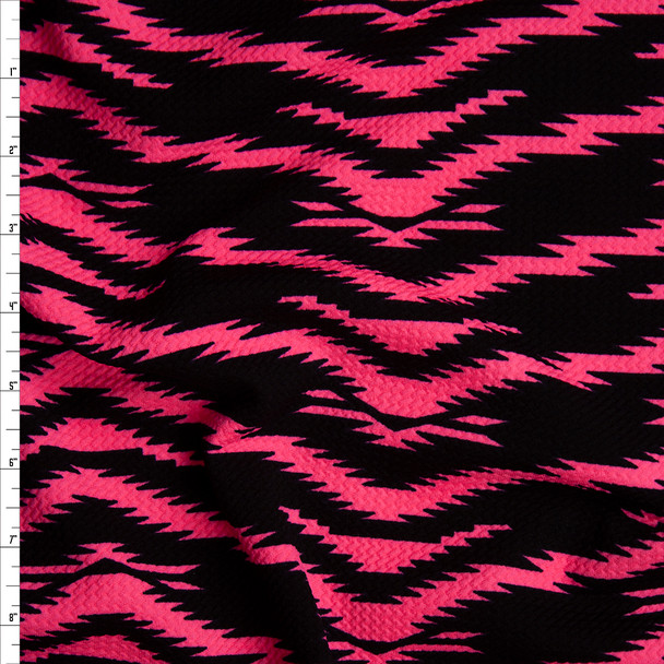 Neon Pink on Black Electric Tiger Print Bullet Liverpool Knit Fabric By The Yard